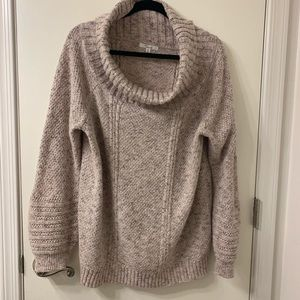 89th & Madison Oatmeal Cowl Neck Cotton Sweater XL